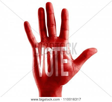 Vote written on hand isolated on white background