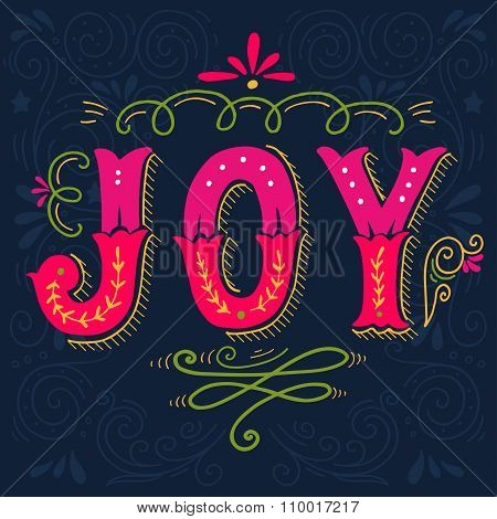 Joy. Merry Christmas Retro Poster With Hand Lettering And Decoration Elements.