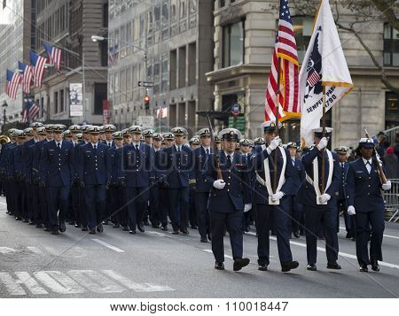 NEW YORK - NOV 25 2015: U.S. Coast guard personnel march in uniform lines during the annual Americas Parade up 5th Avenue on Veterans Day in Manhattan.