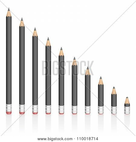 Graphite Pencils Reduction Different Sizes