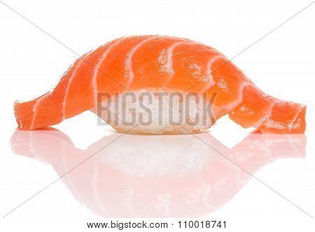 Sushi Nigiri With Fresh Salmon Isolated On White Background With Shadow. Japanese Cuisine.