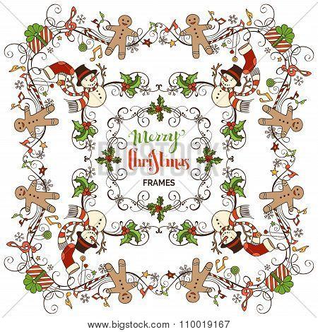 Set Of Christmas Calligraphic Frames.