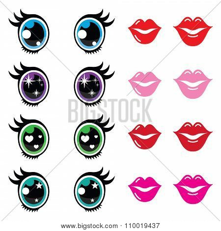 Kawaii cute eyes and lips icons set, Kawaii character
