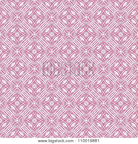 Pink and white geometrical fabric seamless pattern, vector