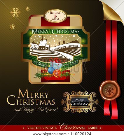 Christmas label with lovely winter landscape for greeting cards, banners, presentations, decorations. Easy to edit all pieces are separated.