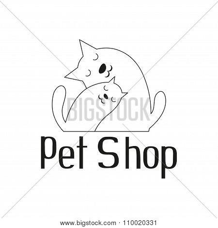 Cat and dog tender embrace, sign for pet shop logo