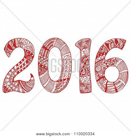 Red 2016 with hand-drawn pattern