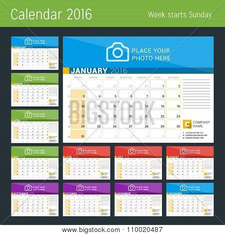 Calendar Planner For 2016 Year. Vector Print Template With Place For Photo, Logo And Contact Informa