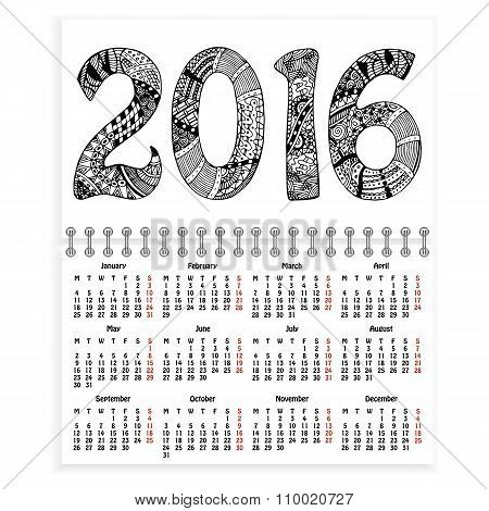 Spiral calendar with ornate 2016 as cover