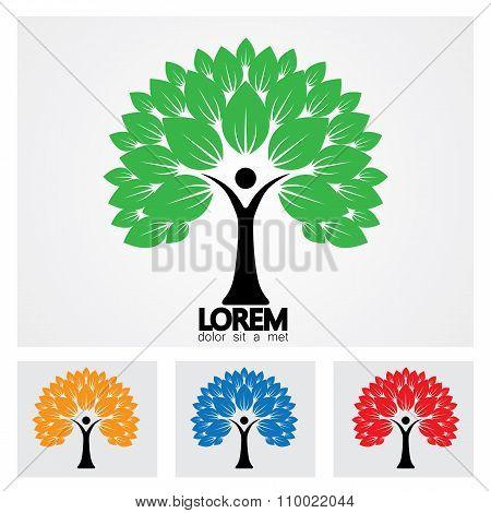 Human Life Logo Icon Of Abstract People Tree Vector Set.