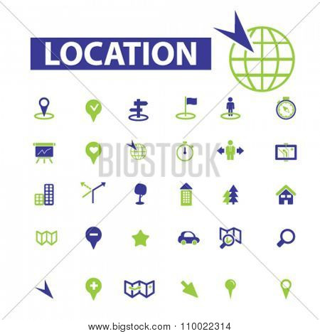 location, map, route  icons, signs vector concept set for infographics, mobile, website, application
