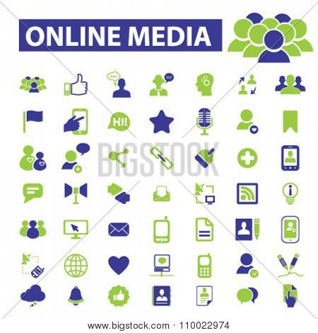 online social media, blog, community, user, avatar  icons, signs vector concept set for infographics, mobile, website, application