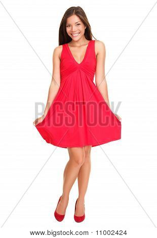 Beautiful Woman In Red Summer Dress
