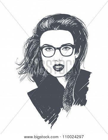 Stylish Brunette Woman In Fashion Sunglasses. Businessman. Stylish Girl.