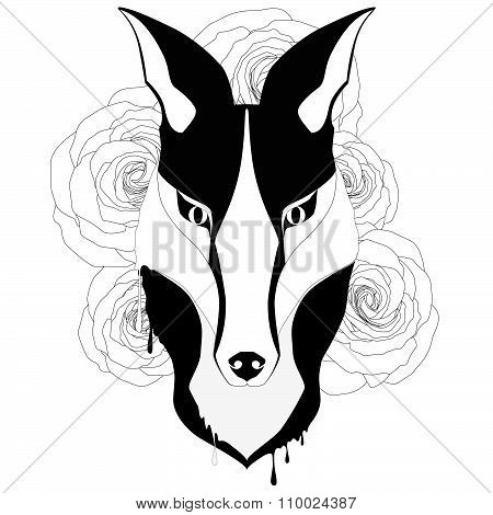 Tatoo style fox with five big roses