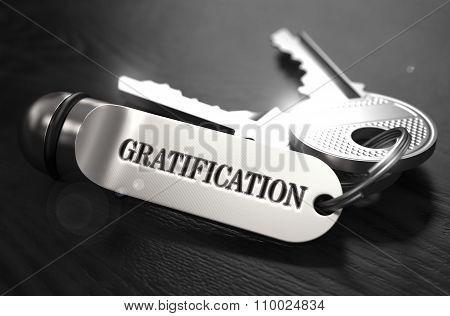 Gratification Concept. Keys with Keyring.