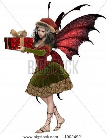 Christmas Fairy Elf Girl Holding a Gift
