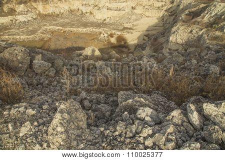 Stones at quarry closeup