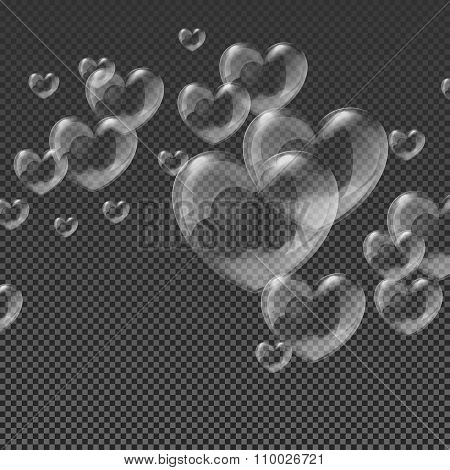 Heart-shaped transparent clean realistic soap water bubbles on abstract checker background vector il