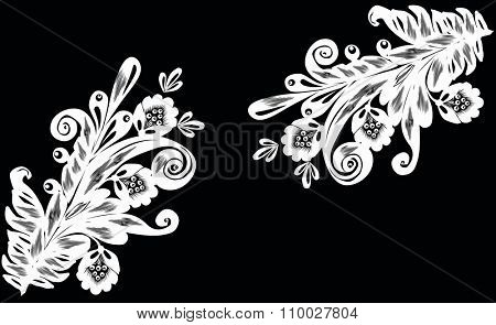 illustration with two white decorations on black background