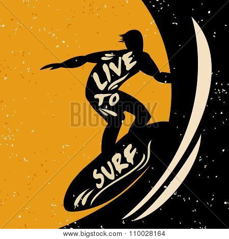 Creative Poster With Surfer Silhouette On Grunge Background.
