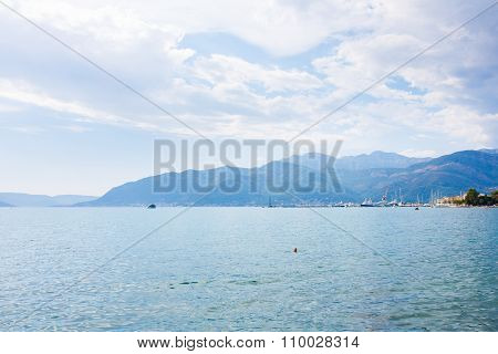 Beautiful Landscape Kotor Bay Near The Town Of Tivat, Montenegro, Europe. Kotor Bay Is A Unesco Worl