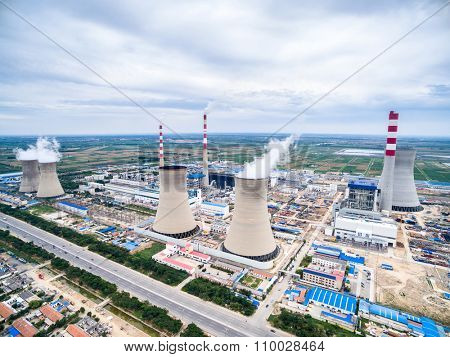 skyline and landscape of power plant