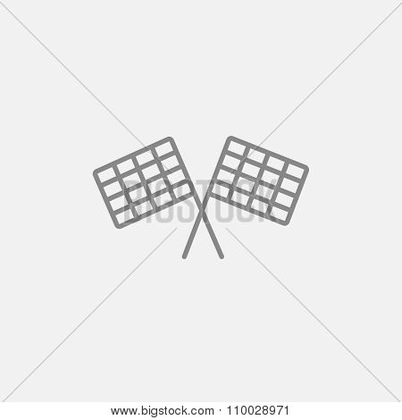 Two checkered flag line icon for web, mobile and infographics. Vector dark grey icon isolated on light grey background.