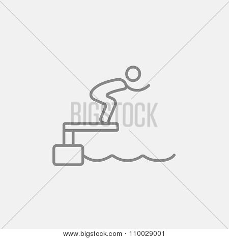Swimmer jumping from starting block in pool line icon for web, mobile and infographics. Vector dark grey icon isolated on light grey background.