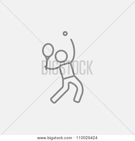 Man playing big tennis line icon for web, mobile and infographics. Vector dark grey icon isolated on light grey background.