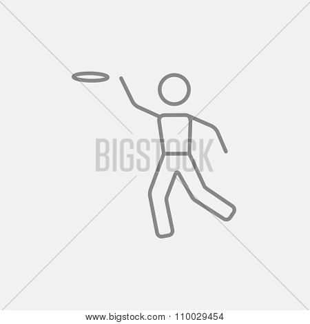 Frisbee line icon for web, mobile and infographics. Vector dark grey icon isolated on light grey background.