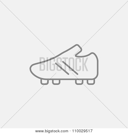 Football boot line icon for web, mobile and infographics. Vector dark grey icon isolated on light grey background.