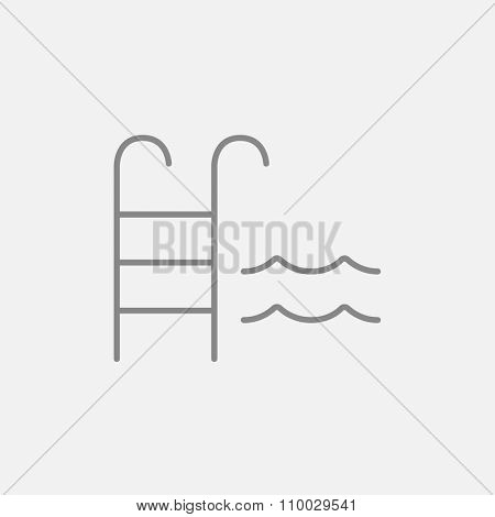 Swimming pool with ladder line icon for web, mobile and infographics. Vector dark grey icon isolated on light grey background.