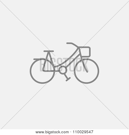 Bicycle line icon for web, mobile and infographics. Vector dark grey icon isolated on light grey background.