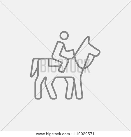 Horse riding line icon for web, mobile and infographics. Vector dark grey icon isolated on light grey background.