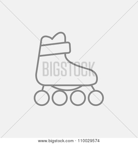 Roller skate line icon for web, mobile and infographics. Vector dark grey icon isolated on light grey background.