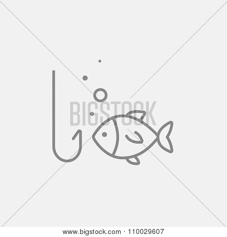 Fish with hook line icon for web, mobile and infographics. Vector dark grey icon isolated on light grey background.
