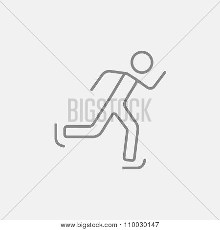 Speed skating line icon for web, mobile and infographics. Vector dark grey icon isolated on light grey background.