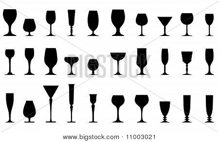 collection of glasses silhouettes