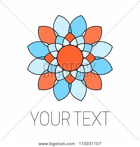 Elegant orange and blue flower logotype