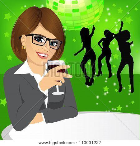 business woman drinking wine
