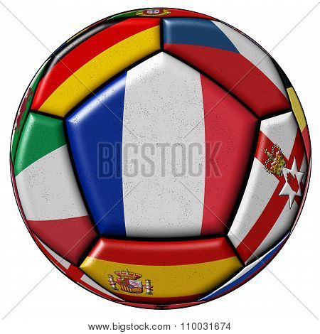 Soccer Ball With Flag Of France In The Center