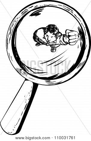 Person Under Magnifying Glass Outline