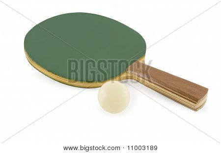 Table Tennis Rackets And Ball Isolated On White Background