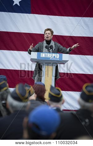 NEW YORK - NOV 25 2015: Army vet Loree Sutton, Commissioner of NYC Mayors Office of Veterans Affairs speaks at the ceremony on the USS Intrepid Sea, Air & Space Museum at Pier 86 on Veterans Day.