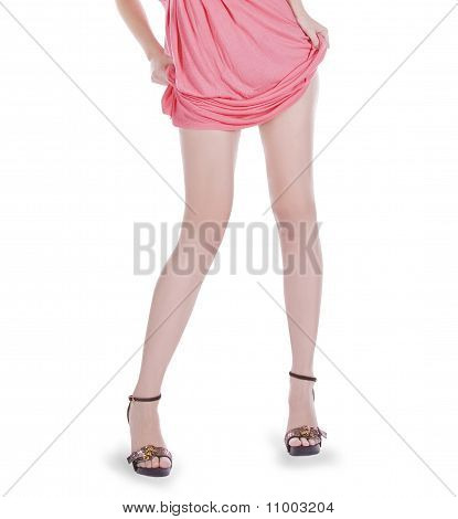Young Teen Woman Wearing A Pink Dress Posing Over White
