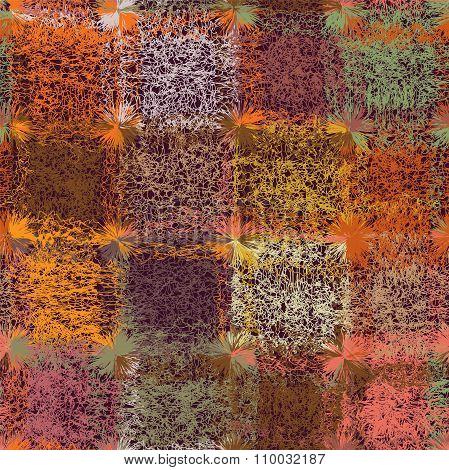 Grunge Striped And Checkered Weave Colorful Seamless Pattern