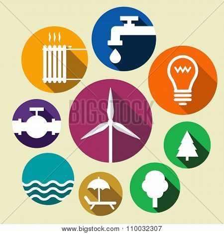 Set Of Environment Friendly Icons