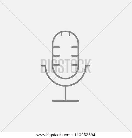 Retro microphone line icon for web, mobile and infographics. Vector dark grey icon isolated on light grey background.