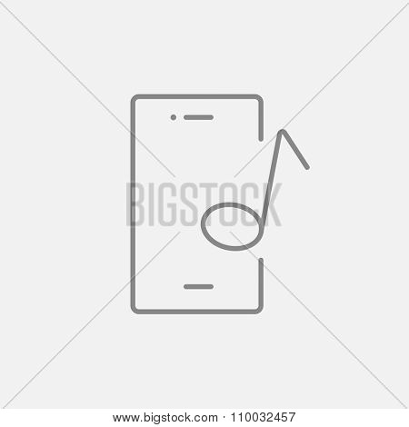 Phone with musical note line icon for web, mobile and infographics. Vector dark grey icon isolated on light grey background.
